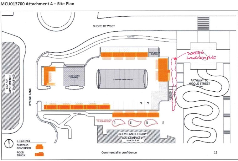 Eat Street Site Plan in report to council meeting on 10 August 2016