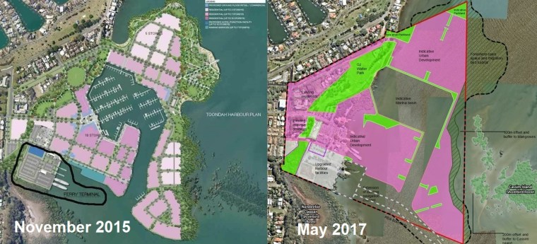 Walker Group's changing plans for Toondah Harbour raise questions about community benefits from the Infrastructure agreement.