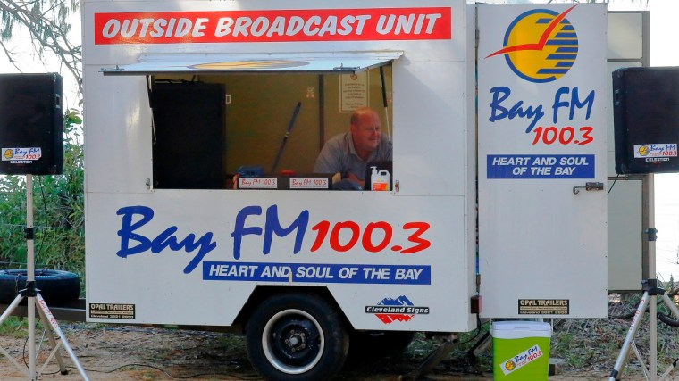 Community radio station Bay FM 103 doing an outside broadcast on Coochiemudlo