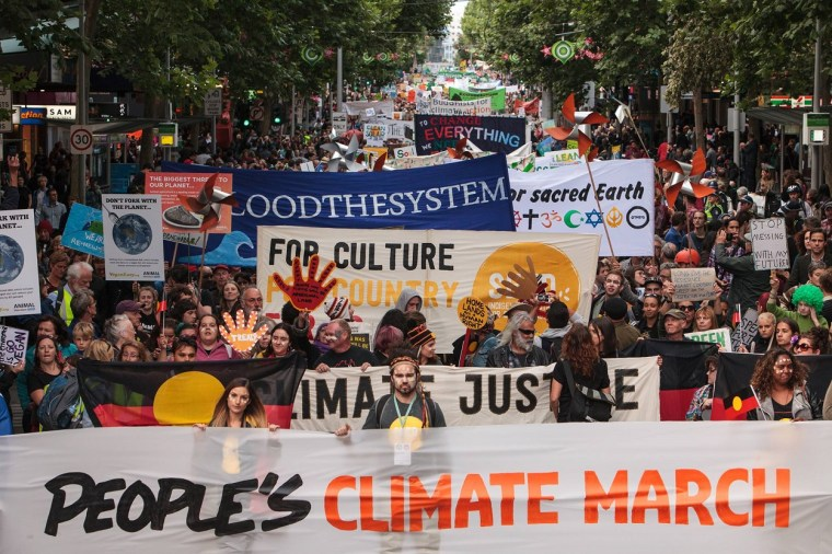 Marching for political action on climate change in Australia