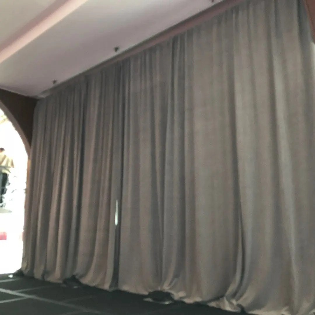 pipe and drape stage background grey velour