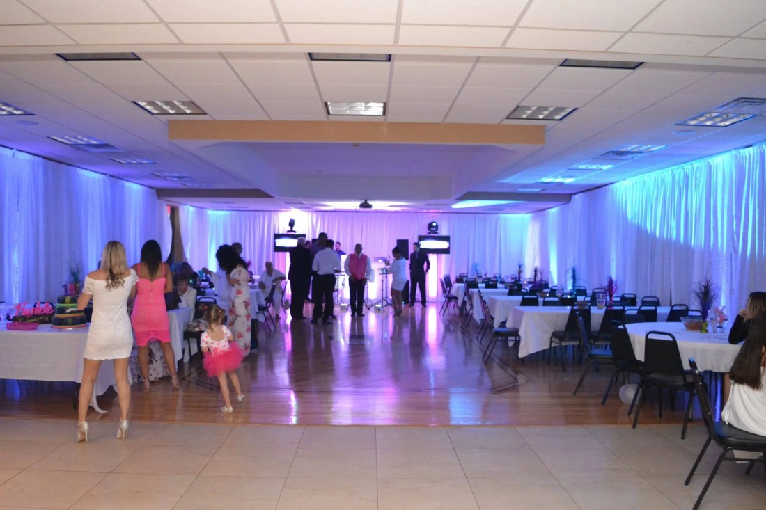 white pipe and drape to hide walls in a venue