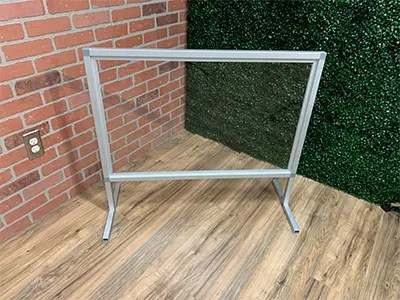 Silver Frame Sneeze Guard