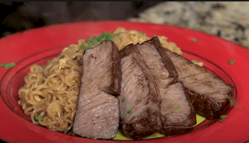 steak and ramen noodles