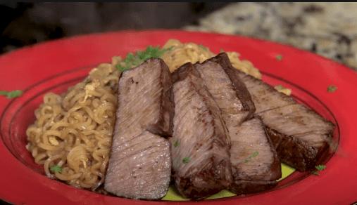 steak and ramen noodles