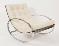 Selig Chrome and Leather Rocking Chair | red modern furniture