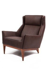 Fantastic Leather & Walnut Lounge Chair | red modern furniture