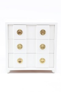 Stunning White Lacquer & Brass Chest | red modern furniture