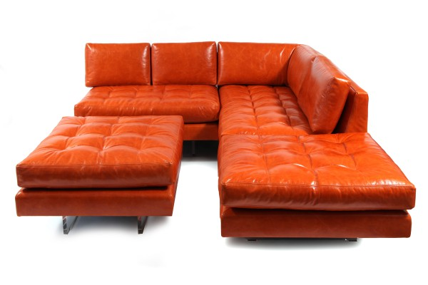 Vladimir Kagan Leather Omnibus Sectional Sofa  red modern