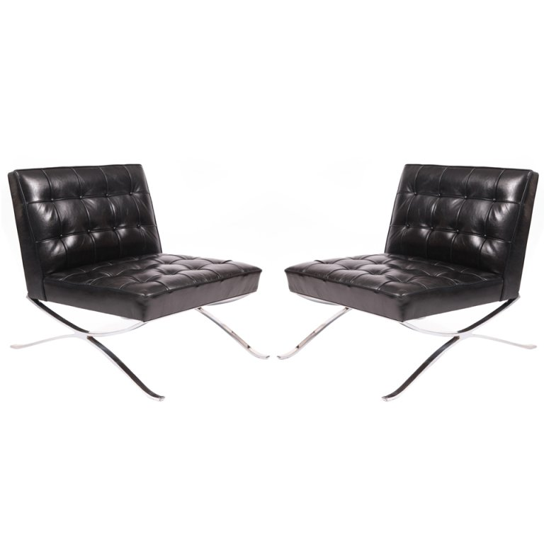 white leather slipper chair brown high back dining chairs rare pair of steel and lounge by hans kaufeld red
