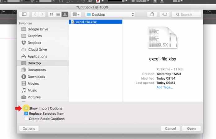 Excel dosyasını InDesign'a aktarma: İçe Aktarma Seçeneklerini Göster'i işaretleyin