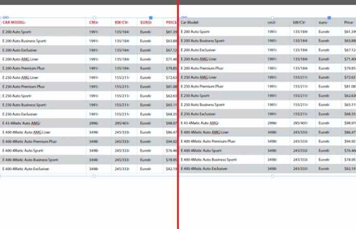Excel dosyasını InDesign'a aktarma: önceki sürüm ve güncellenmiş sürüm