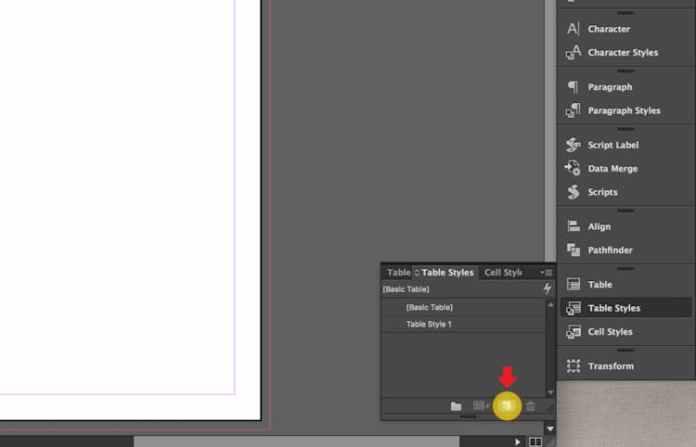 Excel dosyasını InDesign'a aktarma: yeni Tablo Stili oluşturma