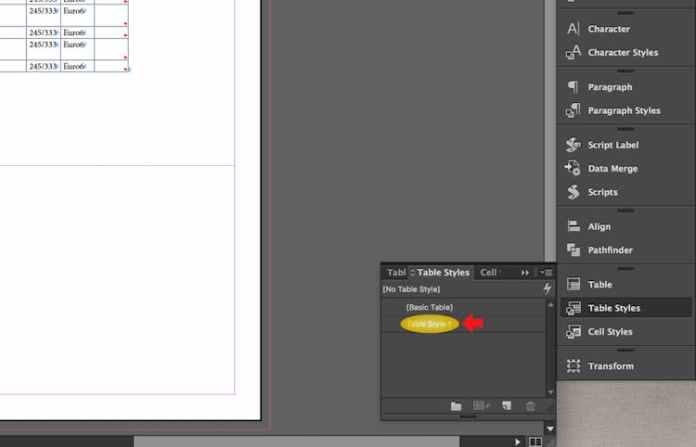 Excel dosyasını InDesign'a aktarma: Tablo Stilini düzenle