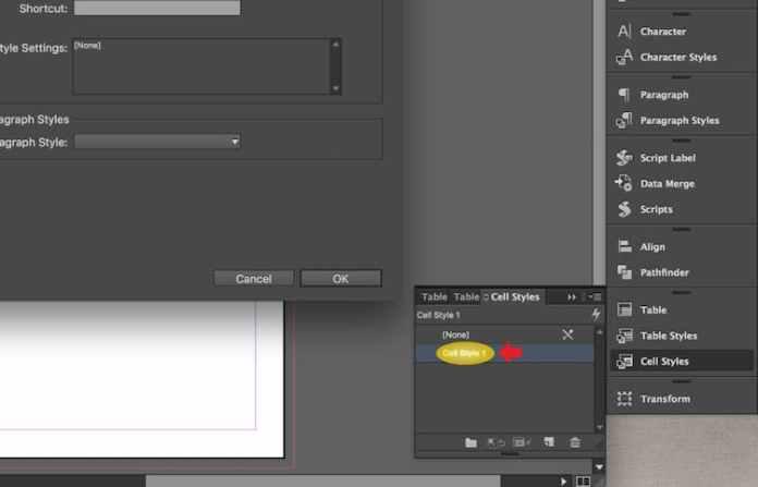 Excel dosyasını InDesign'a aktarma: Hücre Stilini düzenleme