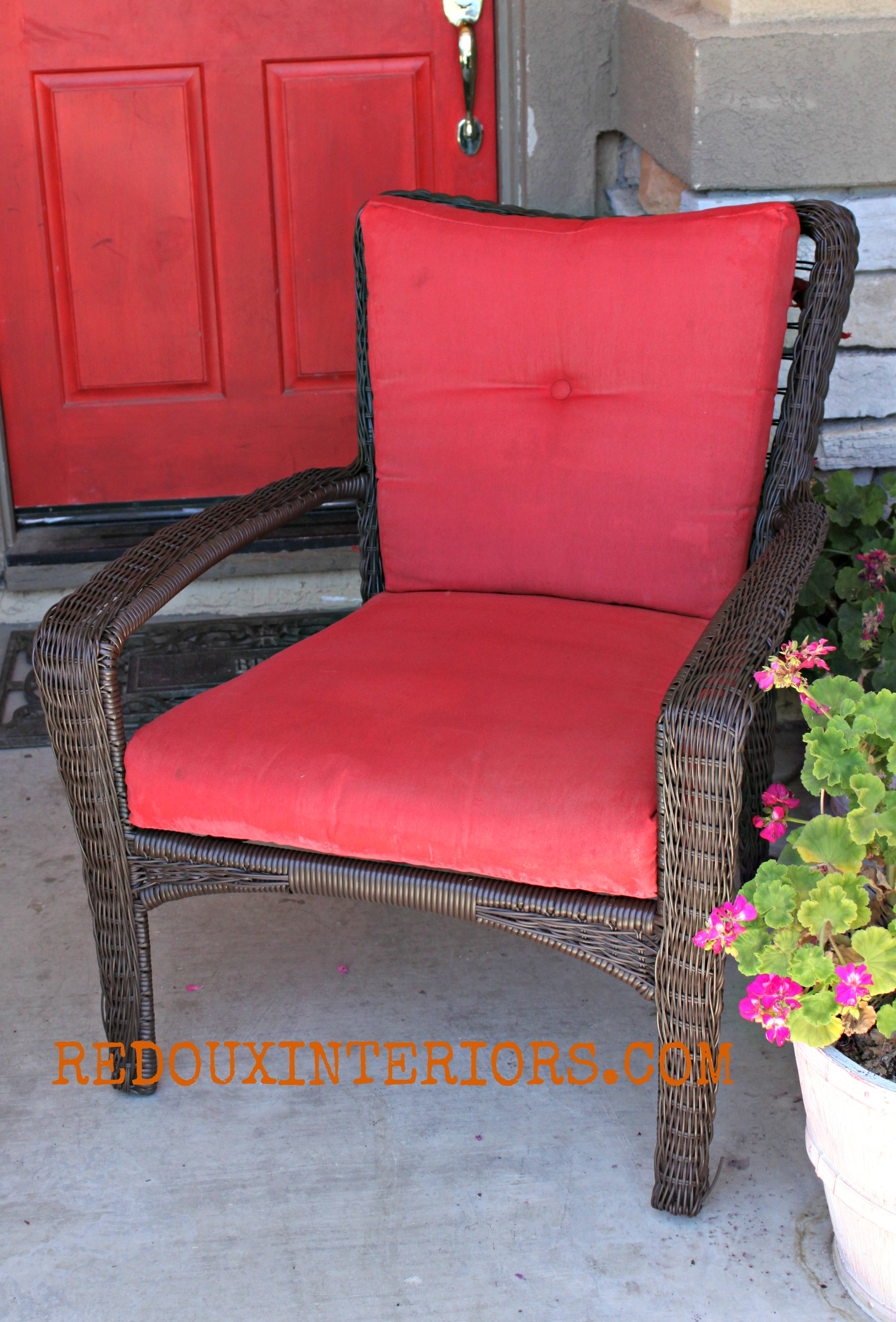 Red Patio Chairs Spray Painted Fabric