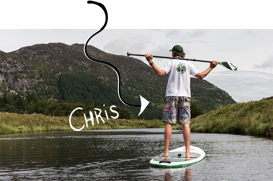 Man stands on paddle board resting arms on paddle