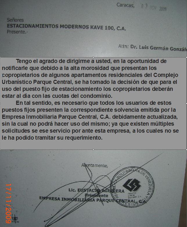 Documento de Condominio  Red Comunitaria Parque Central