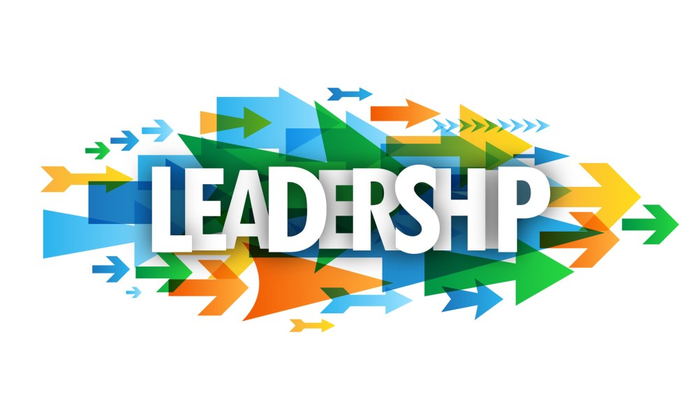 """""""LEADERSHIP"""" overlapping vector letters icon with arrows background"""