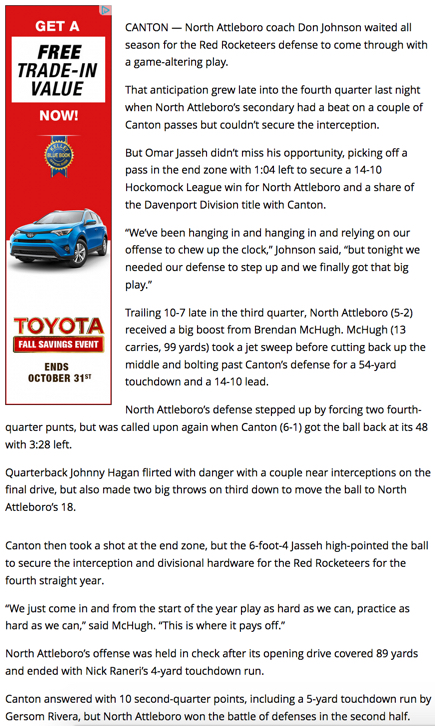 North v Canton Herald Story