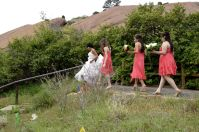 Highlight of the garden day: A bridal party runs through it!