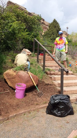 Jack and Chris working on the south end of the garden. May 16, 2015.