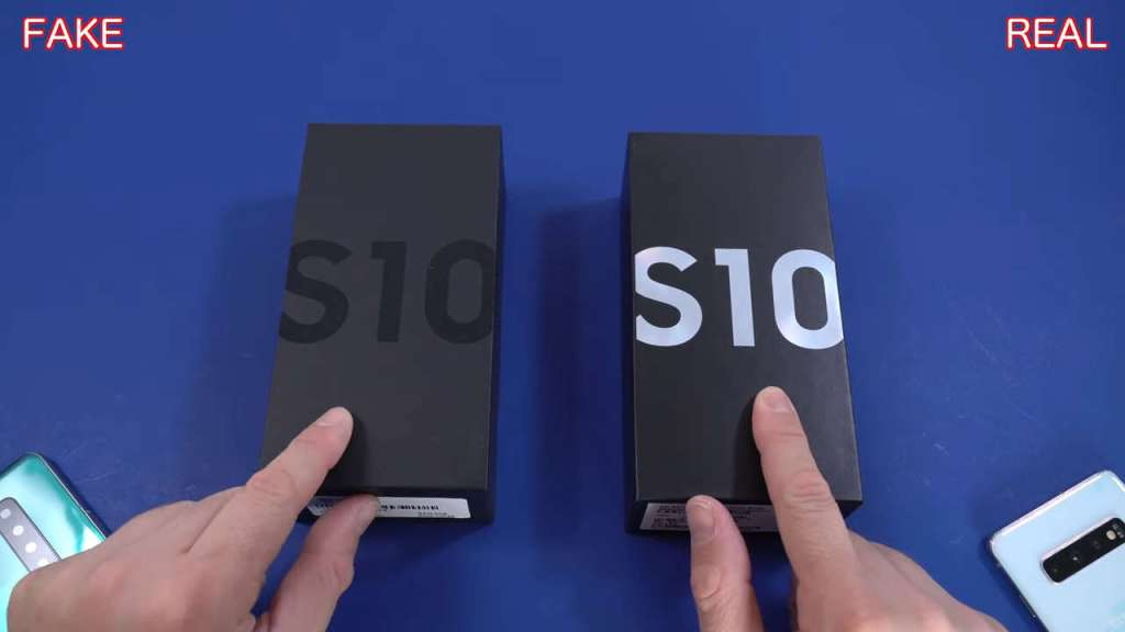Fake Fake Samsung S10 box vs real one