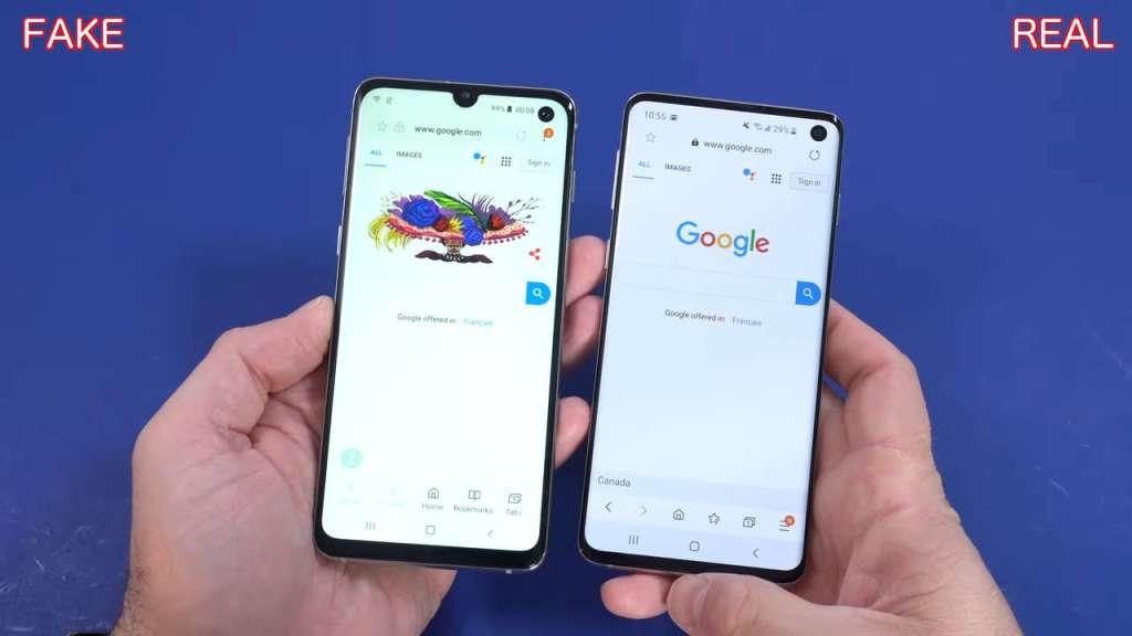 Samsung S10 fake frontal camera vs the original one
