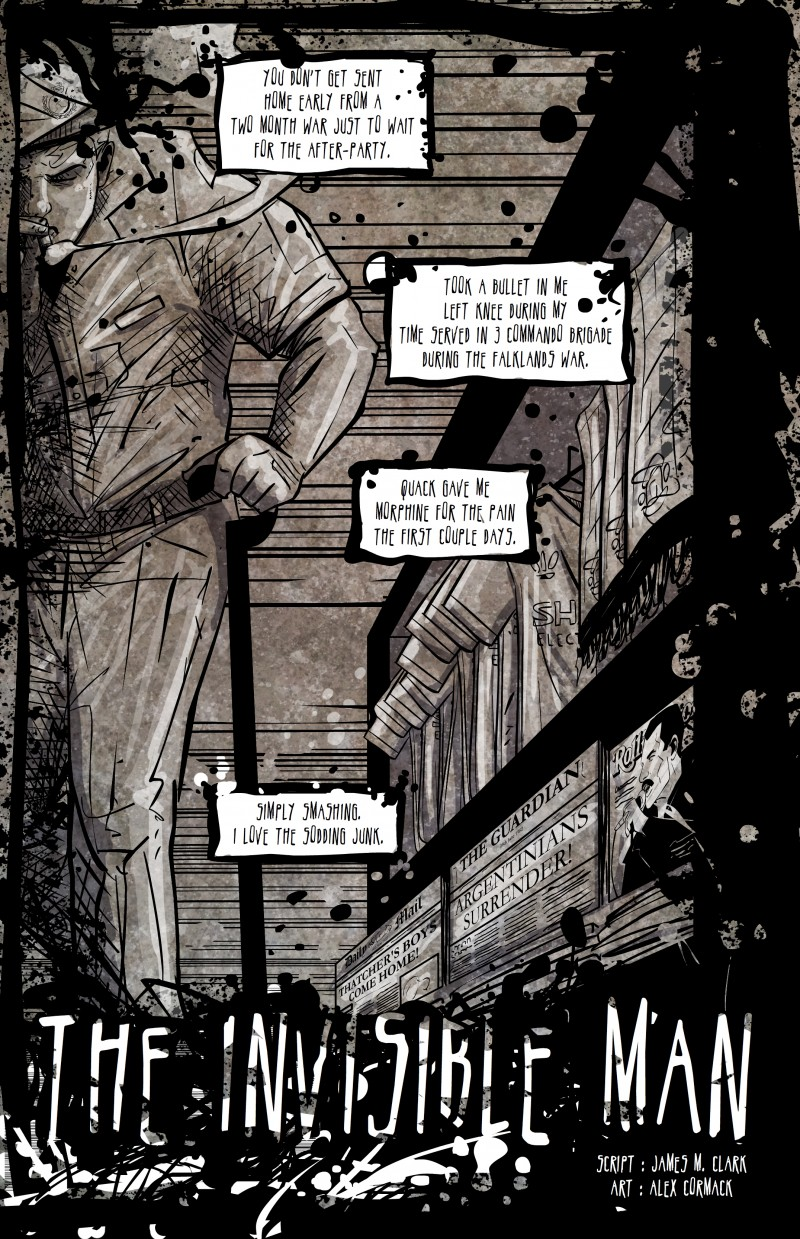 "Page 1 from 'Invisible Man,"" story by James Clark, art by Alex Cormack, inspired by the song of the same name."