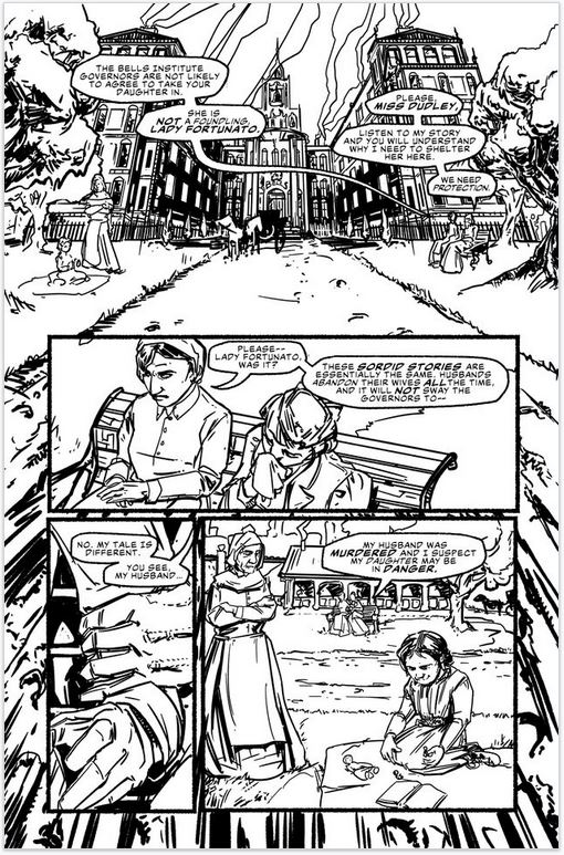 House of Montresor, inked page 1, by Enrica Jang and Jason Strutz