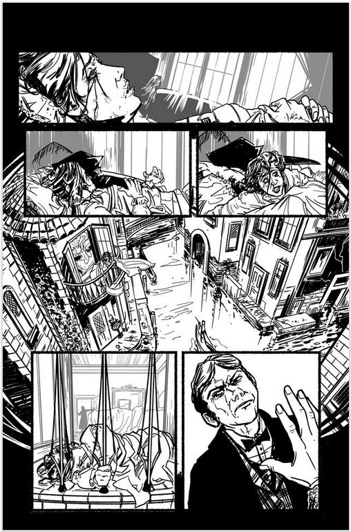 House of Montresor, inked page 5, by Enrica Jang and Jason Strutz