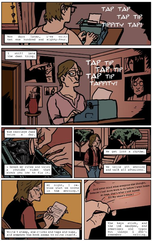 "page from ""Typewriter Blues"", by Mad Moll Green and Victor Moura, inspired by Janis Joplin"