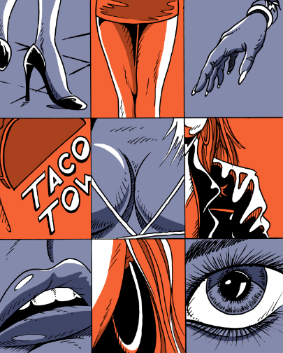 "color panels from ""Not Right"" Story by Blake Armstrong and Alex Clark, inspired by The Stooges"