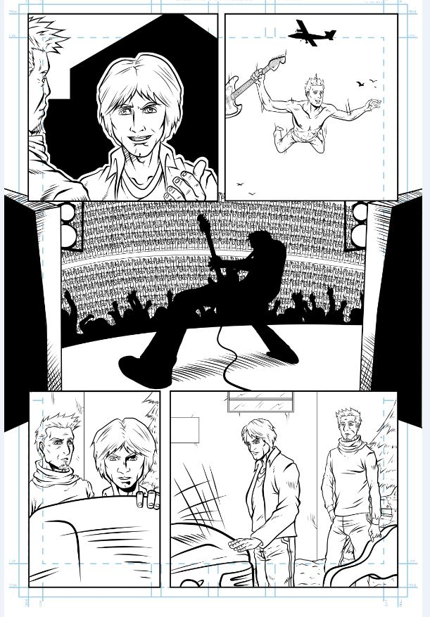 "inked page from ""To Fade Away"" story by James Maddox and Emanuel Sotomayor, inspired by Kurt Cobain"