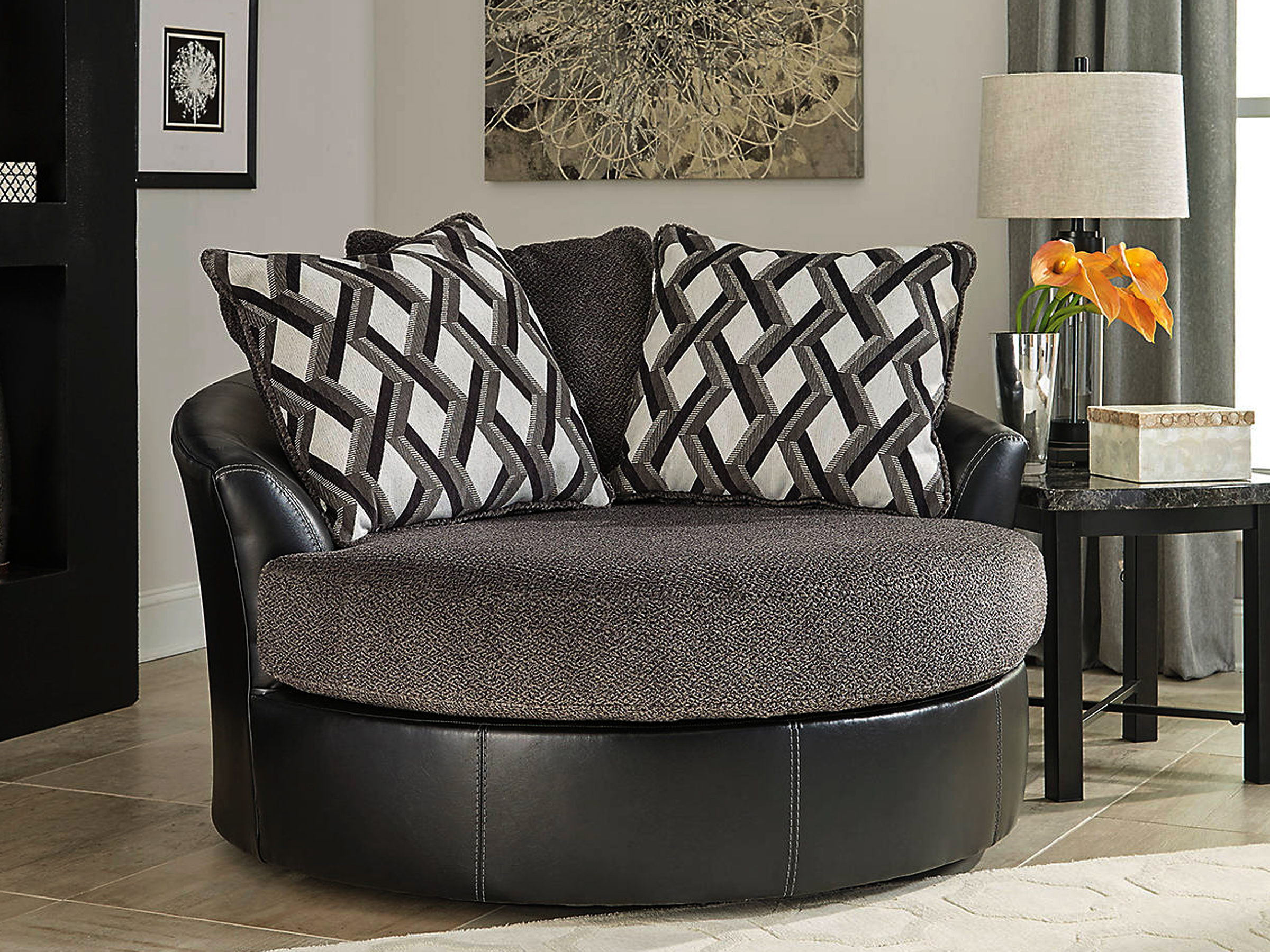 Wasabi Smoke Oversized Swivel Accent Chair