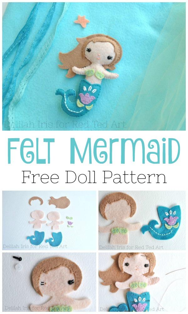 Free Felt Pattern : pattern, Little, Mermaid, Pattern, Crafting