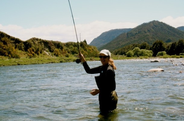 becky allender wading into the river