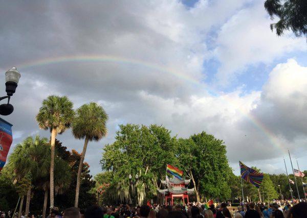 photo of rainbow over lake eola