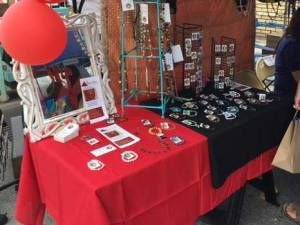 Indie Market Red Tent Jewelry Table