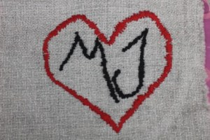 MJ Initials Inside Heart Embroidery