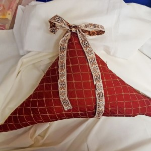 Triangle Red Pillow with Bow