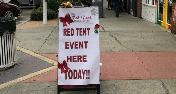 Red Tent Event Street Sign