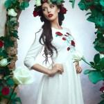 Rochie StarShinerS Brodata Rose Fantasy White