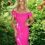 Rochie eleganta LaDonna fuchsia cu volanase la baza rochiei