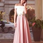 Rochie Artista rosa din material satinat cu insertii de broderie