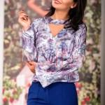 Bluza dama cu imprimeu in nuante albastre