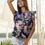 Bluza de vara bleumarin imprimeu floral