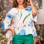 Bluza din voal cu imprimeu floral albastru