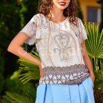 Bluza Ivoar cu Imprimeu Maro