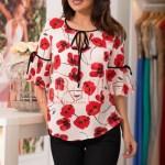 Bluza ivoire cu flori de mac